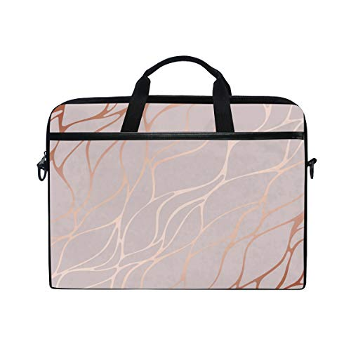HaJie Laptop Bag Rose Gold Marble Lines Print Computer Case 14-14.5 in Protective Bag Travel Briefcase with Shoulder Strap for Men Women Boy Girls