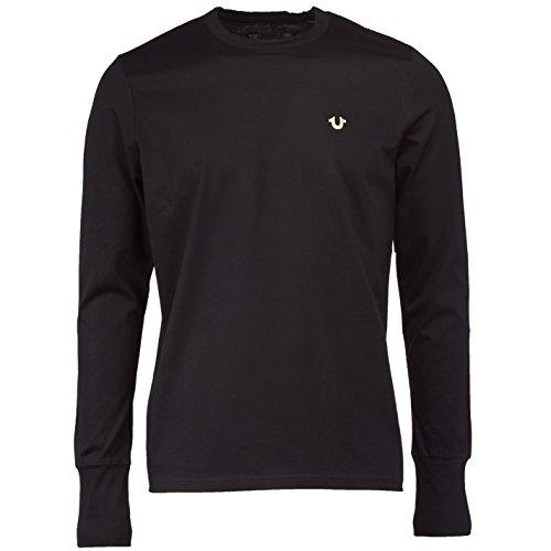 True Religion Crew LS Metal Logo T- T-Shirt, Black 1001, X-Large Homme