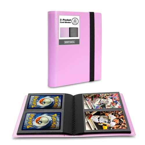 Sentinol Compact Photocard Holder Book- Hold 80 Cards in Thick Sleeves, Mini Trading Card Binder 2 Pocket Photo Album for Polaroid Pictures, Kpop Photos, Pokemon, Amiibo Cards (Pink, 1 Pack)