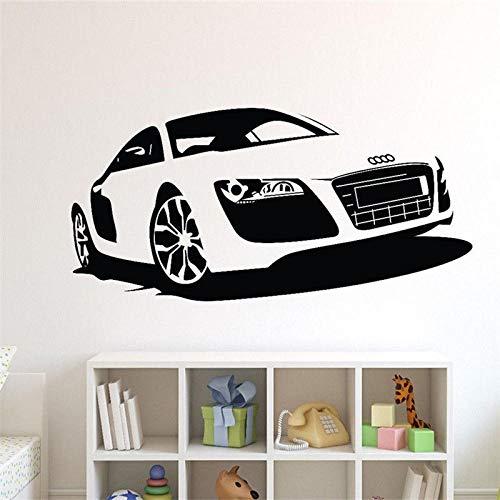 TeriliziAuto Shop Poster Vinyl Kunst Design Wandaufkleber Automotive Auto Audi Rennwagen Wohnkultur Schönheit Moderne Decals-57X117Cm Schwarz
