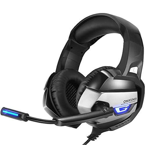 DBSCD Auriculares para Juegos Aislamiento de Ruido con micrófono para computadora portátil, PS4 3.5mm Auriculares para Juegos con Cable (Color: Plateado)