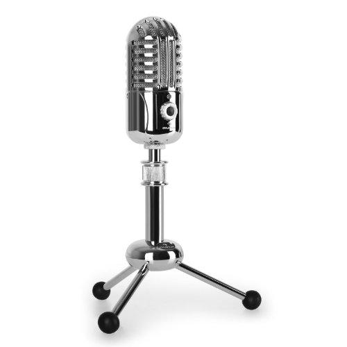 auna CM280 - Kondensator-Mikrofon, USB-Mikrofon, Windows und Mac, Nierencharakteristik, 32 mm Elektret-Großmembran, Plug & Play, Tisch-Stativ, USB-Kabel, Silber
