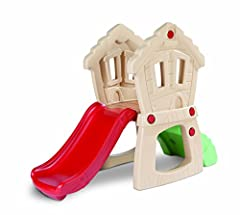 Easy climbing rock wall for beginners Adventurous crawl tunnel and hide out Gentle slope slide for soft landings and clubhouse windows are easy to peek through Slide height from ground to top of slide 19.75 inches height and platform height from grou...