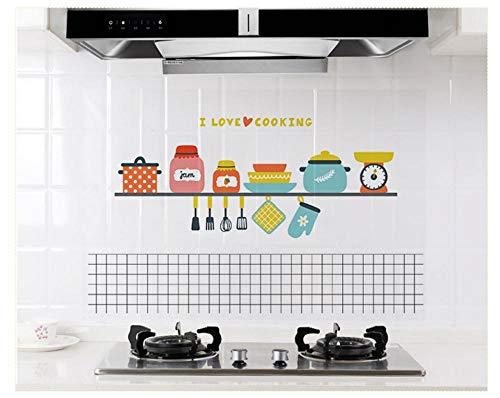 3D Küche Ölwiderstandsfähige Wandaufkleber, Herd Hochtemperatur Wasserdichte Fliesen Schrank Dunstabzugshaube Refurbished Wallpaper 60X90Cm