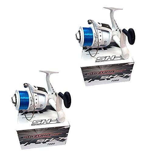 2 X SHIZUKA SK70 LARGE SEA FISHING REELS FOR BEACH PIER FISHING WITH BLUE LINE