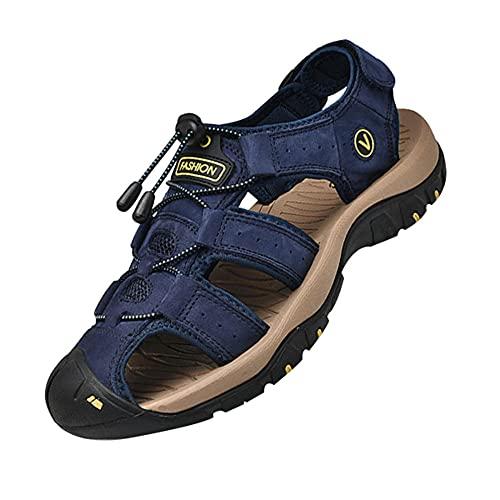 Antideslizante Trekking Casual Sandalias,Deportivas Para Hombre Al Aire Libre Cuero Verano Playa Senderismo Zapatos,Blue_44