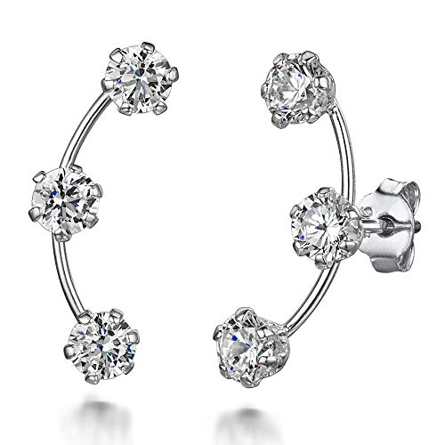 AmbertaWomen's925 Sterling Silver Crawler Earrings: Climbers with White Pave CZ Crystals