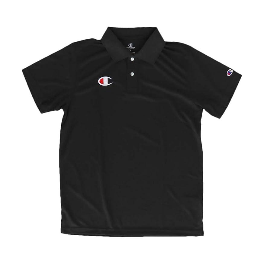 空虚自治部チャンピオン ポロシャツ メンズ 上 Champion 半袖 ロゴ ワンポイント 速乾 UVカット ドライ