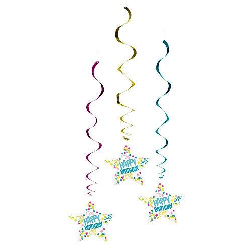 Boland 3 Décorations à Suspendre Confettis Happy Birthday 85cm