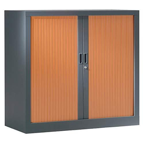 Armoire Monobloc à rideaux |Anthracite | Merisier | HxLxP 1000 x 1200 x 430 | Certeo