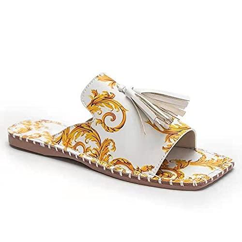 ypyrhh Sandalias de Punta Descubierta,Arena de Flores,Plana con Color sólido Zapatos de Mujer.-Blanco_40,Zapatillas Flip Flops Sandal