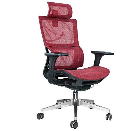 Sweet Gaming Chair Rot und Blau, Leder mit Kopfstütze und Lordosenstütze, Gaming Chair Beruhigendes zervikales/lumbales hochelastisches atmungsaktives Gleitkissen