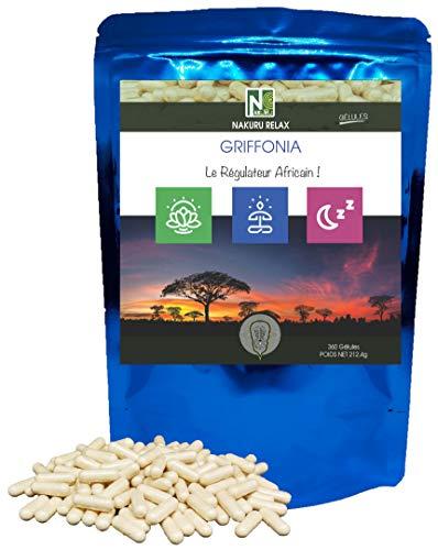 """Griffonia / 90 Gélules de 590mg / NAKURU Relax / Analysé et Conditionné en France / """"Le Régulateur Africain!"""" (360 Gélules de 590mg / Poids Net: 212,4g)"""