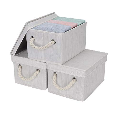 StorageWorks Storage Boxes With Lids Closet Organizers And Storage Bin With Cotton Rope Handles Mixing of Beige White Ivory Medium 3-Pack