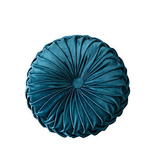 Blanchel Terciopelo calabaza plisada almohada redonda cojín del sofá almohada decoración hogar sofá silla cama coche