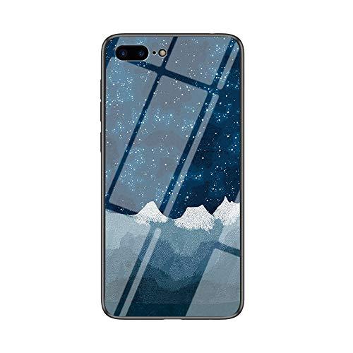 SHIEID Carcasa para Apple iPhone 8 Plus,Mármol Vidrio Templado de Case Cover Ultra Fina Silicona Gel Caja Carcasa Antideslizante de Carcasa Blanda para Apple iPhone 8 Plus (Tela de ajedrez Star Luo)