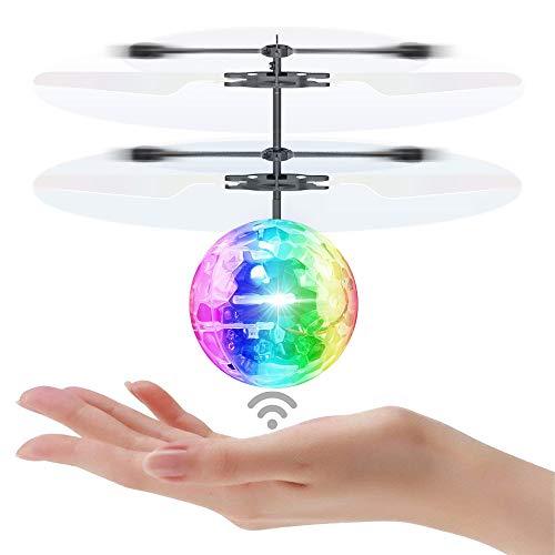 Iadong RC Fliegender Ball, Infrarot-Induktions Hubschrauber Spielzeug mit Blinkt Kristalllicht Led Licht Leucht Party Geeignet für Kinder Jungen und Mädchen
