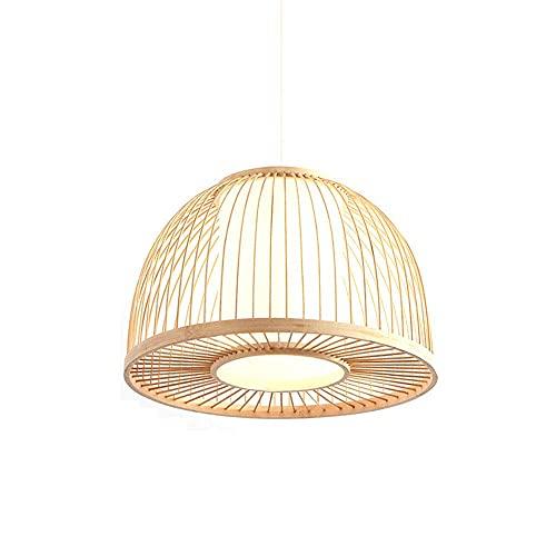 WEM Novedad Candelabro decorativo, luz colgante de granja simple Sudeste de Asia Candelabros tejidos de bambú Luz colgante redonda tejida a mano Simple Retro Clásico Arte de bambú Restaurante Inn Bar