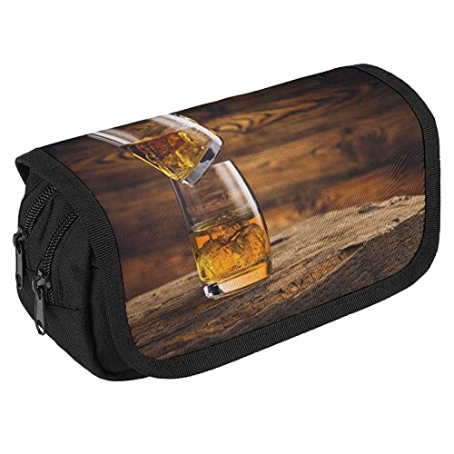 Big Capacity Pencil Case for School Cute Pencil Pouch with Double Zippers & 3 Compartments Whisky On The Rocks Alcohol Beverage Bar -1 Large Pen Case Organizer