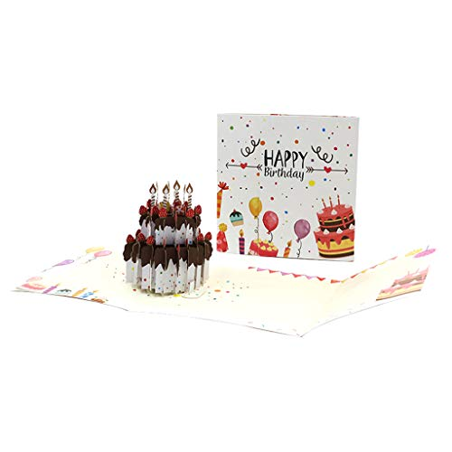 3D Pop-Up Cake Greeting Cards Postcards Invitations with Envelope Birthday Party Christmas Decor Gift