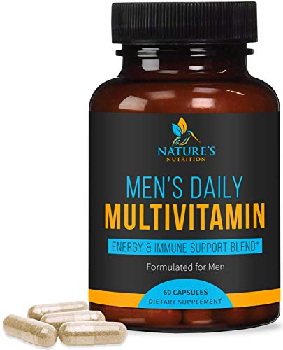 Multivitamin for Men, Extra Strength Daily Multi Vitamin with Vitamins A, C, D, E, B1, Zinc - Made in USA - Best Natural Supplement for Energy & General Health - Non-GMO - 60 Capsules