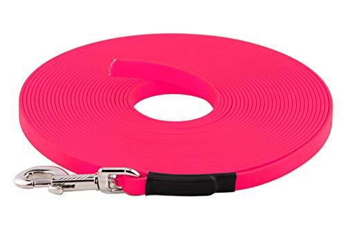 LENNIE BioThane Schleppleine, 13mm, Hunde 15-25kg, 5m lang, ohne Handschlaufe, Neon-Pink, genäht