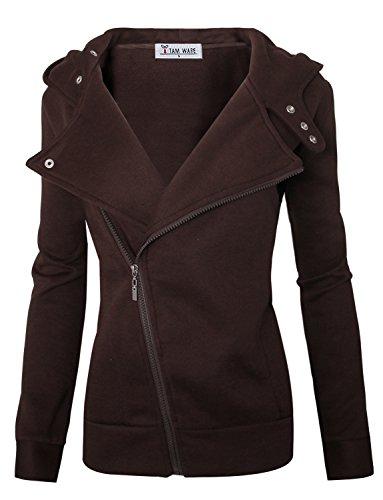 TAM WARE Women Slim fit Zip-up Hoodie Jacket TWHD1003-BROWN-XL