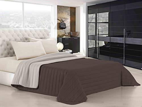 Italian Bed Linen Elegant Trapuntino Estivo, Microfibra, marrone/panna, Matrimoniale, 260x270cm