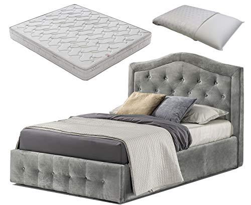 Cama de 1 plaza y media con caja contenedor de terciopelo gris + colchón de plaza y media 120 x 190 cm con memoria + almohada de regalo