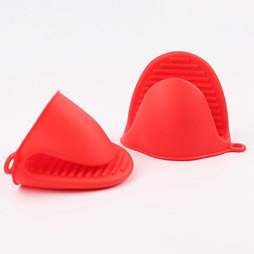 ZZM 1 paire de maniques en silicone résistant à la chaleur - Antidérapantes - Rouge
