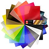 Arteza Neon & Metallic Heat Transfer Vinyl Sheets, Set of 20, Iron On Vinyl Bundle, 12x20 Inches, Flexible & Easy to Weed, Use with Any Craft Cutting Machine, Boxed
