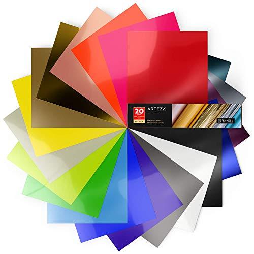 Arteza Warmteoverdracht vinylpapier | 20 vinylvellen 12 x 20 inch (30,4 cm x 50,8 cm) | Veelzijdige heat transfer vinylfolie | zelfklevende folie voor hittedruk overdracht van strijkafbeeldingen