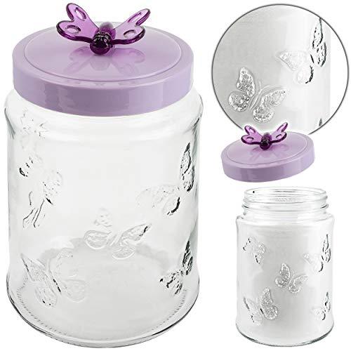alles-meine.de GmbH 1,5 Liter - großes Glas - Vorratsglas / Aufbewahrungsglas - mit Deckel & dichter Schraubverschluß - Schmetterling lila - Vorratsdose / Vorratsbehälter - Keksd..