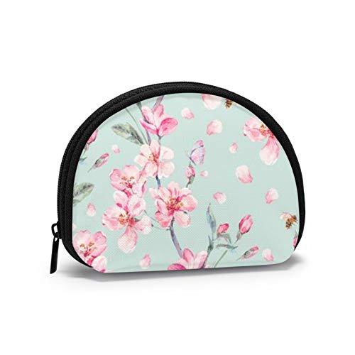 Cherry Blossom Garden Mujeres Niñas Shell Cosmético Maquillaje Bolsa de Almacenamiento Monedas de Compras al Aire Libre Monedero Organizador