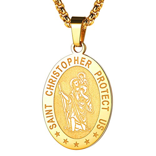 FaithHeart Joyerías Católicas Medallones Ovalados patrono de los viajeros Colgantes Collares de Acero Inoxidable Caja de Regalo