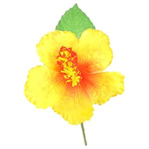 TropicaZona Artificial Hibiscus Foam Flower Corsage, Small Bouquet, Yellow, 2-Pack