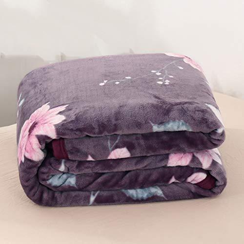 SMEJS Manta de Colcha de Felpa Espesa de Flor púrpura, Manta de Franela Suave, Utilizada en sofás Cama y Otros Lugares (Size : Medium)