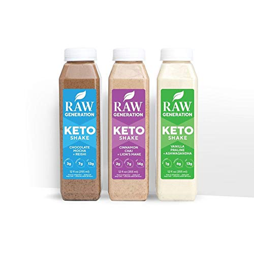 Raw Generation️ Keto Shakes - 100% Plant-Based Shakes / Just 3 Net Carbs / Each Adaptogens Target Specific Functions (18-Pack)