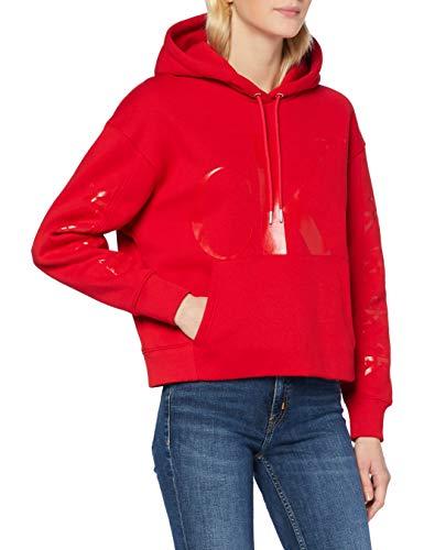 Calvin Klein CK Eco Hoodie Suéter, Red Hot/Darker Red, XS para Mujer