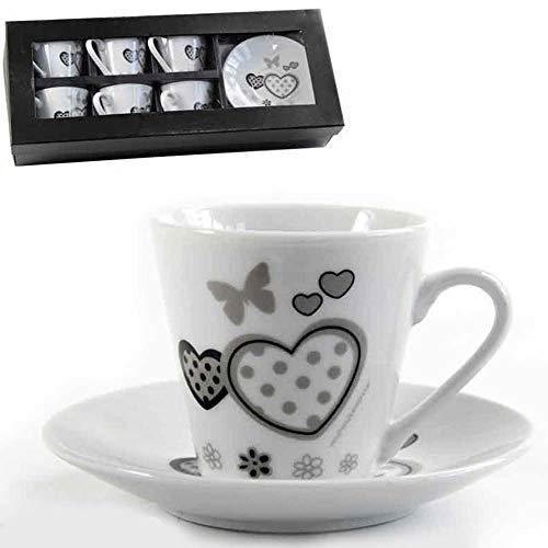 BAKAJI Servizio Set da 6 Tazzine da caffè Tazzina in Ceramica Bianca con Piattino Decorazione Cuori e Farfalle Design Shabby Chic Colore Bianco Grigio