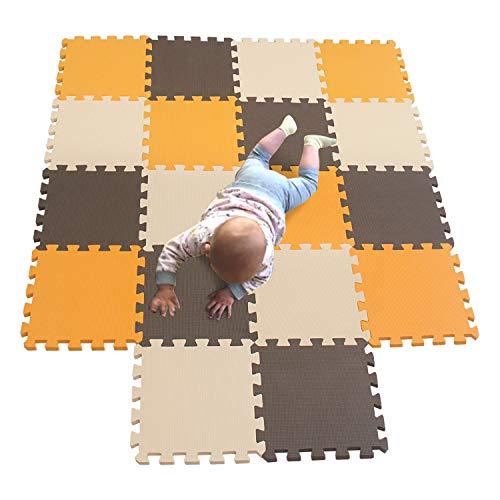 MQIAOHAM Baby Boden für mädchen mat mit Puzzel puzzelmatte puzzlematte puzzleteppich Schaumstoff spielematten spielunterlage Orange-Braun-Beige 102106110