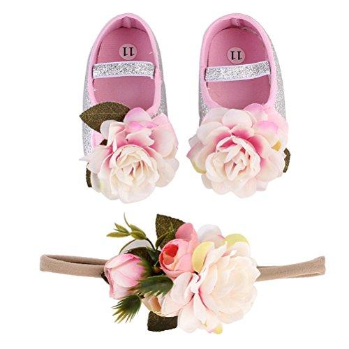 LUOEM Coppia di scarpe da battesimo con fiori 11 cm + 1 fascia per capelli per neonato, accessori fotografici per neonati (argento)
