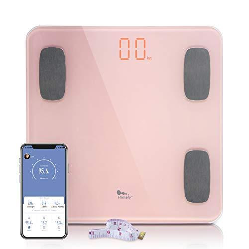 himaly Körperfettwaage, Bluetooth Personenwaage mit App, Smart Digitale Waage für Körperfett, Knochengewicht, Körpergewicht, Muskelmasse, viszerales Fett, Körperwasser, BMI, BMR(Rosa)