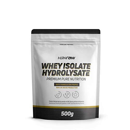 Proteína Hidrolizada Sin Lactosa de HSN Raw | Whey Isolate Hydrolysate | Proteína de Suero Hidrolizado Aislada, Batido para Ganar Masa Muscular, Apto Vegetariano, Sin Gluten, Sin Sabor, 500 gr