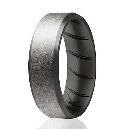 ROQ Silicone Rings, Breathable Silicone Rubber Wedding Ring Band for Men with Comfort-Fit Design, 8mm Beveled Edge, Single, Silicone Wedding Ring - Beveled Metallic Platinum Color - Size 10