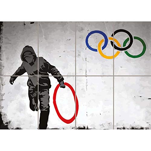 Doppelganger33 LTD Poster Painting Street Graffiti Banksy Style Olympic Ring Thief Wall Art Multi Panel Poster Print 47x33 inches