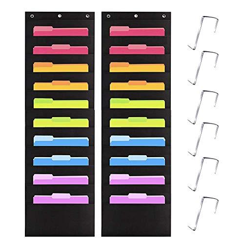 Kruideey Premium Hanging Wall File Organizer,Cascading Wall Organizer Best Pocket Chart for Home Organization, School Pocket Chart, Office Bill Filing .Easy Wall Storage Pocket Chart Black (2 Pack)