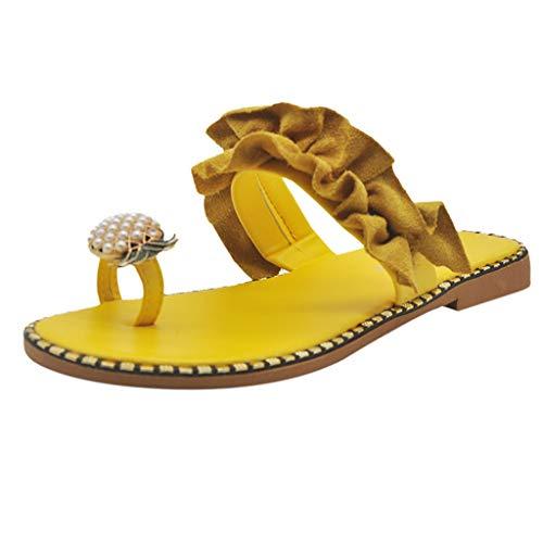 Pantoffel Cord-Slipper Arbeits-Pantoffeln Badelatschen Sommerschuhe Flipflop Flip Flop Badeschlappen Pool Schuhe Slipper Römersandalen Sandalette (36,Gelb)