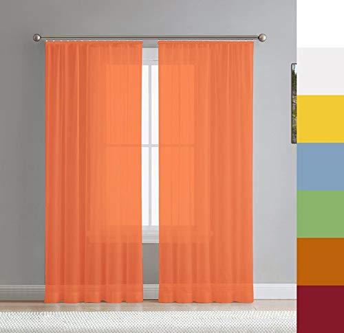 Voile Gardine nach Maß, Halbtransparent, Kräuselband, Vorhang nach Maß, Store Webstore (Orange, 220x145cm /HxB)