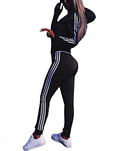 Yesgirl Mujeres 2 Piezas Set Chándales Sudadera con Capucha Tops + Pantalones Joggers Suit Deportivos Desgaste Manga Larga Deportivos Chaqueta Pantalones Monos Jumpsuit Casual Sets Negro 36